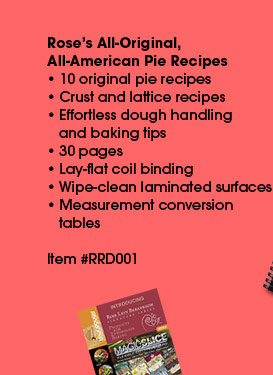 All original, all American pie recipes by Rose Beranbaum. Ten pie recipes plus crust and lattice recipes, dough handling and baking tips for effortless, consistent results. Printed on heavy card stock with a wipe-clean surface.